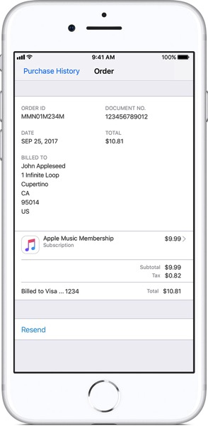 Ios11 iphone8 settings apple id itunes app store view apple id purchase history order id info