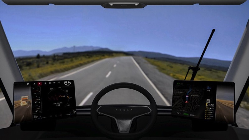 Tesla semi cockpit view