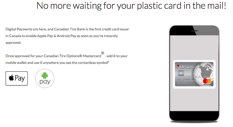 Canadian Tire Options Mastercard: After In Store Approval, Use Apple