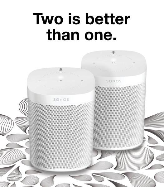 Sonos one x 2