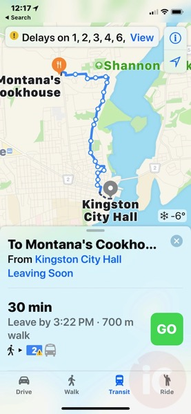 Apple maps transit data kingston