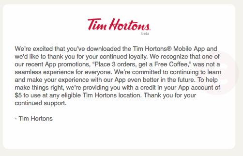 Tim hortons promo $5 credit