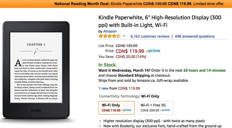 Amazon kindle paperwhite sale