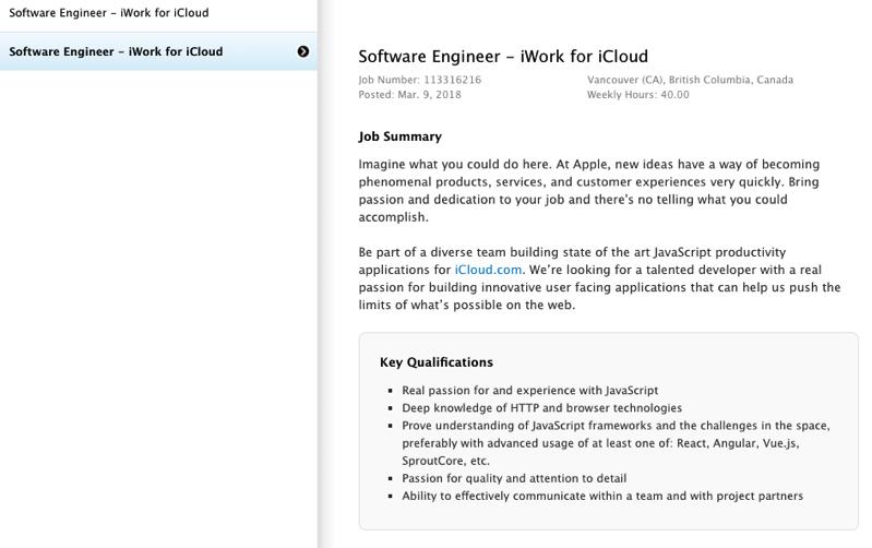 Apple software engineer iwork icloud