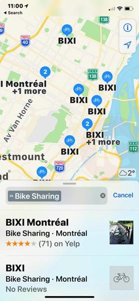 Bixi montreal apple maps