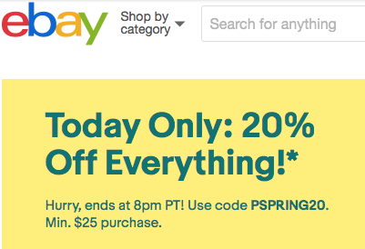 Ebay Canada Coupon Offers 20 Off Everything Today Only Iphone In