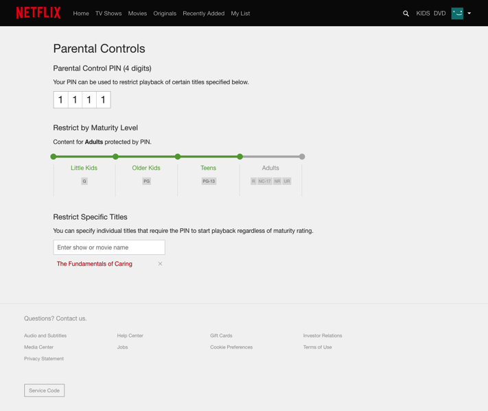 Netflix PIN controls