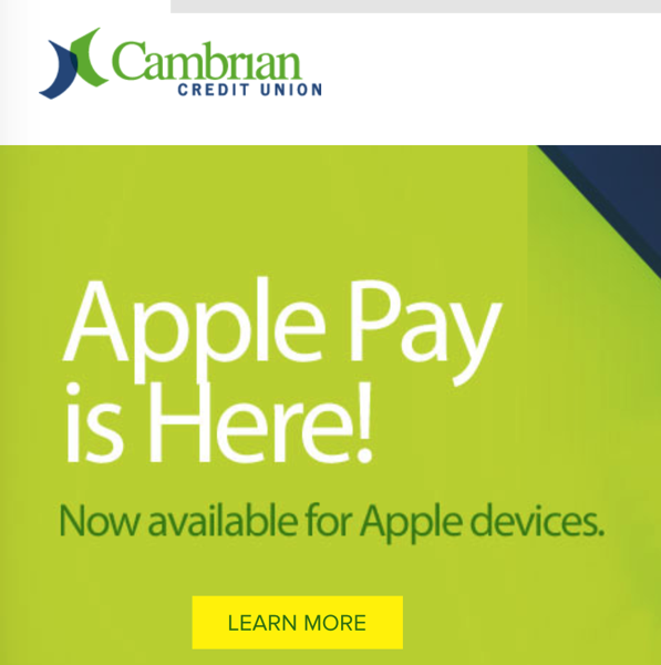 Cambrian credit union apple pay