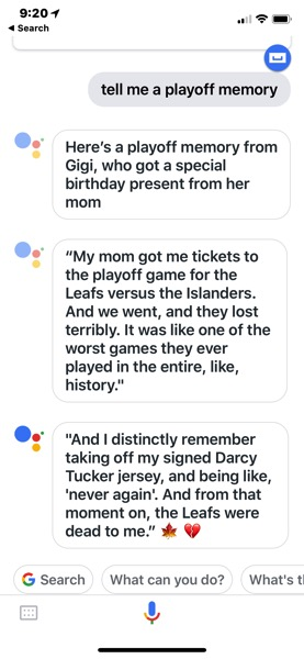 Google assistant hockey memory