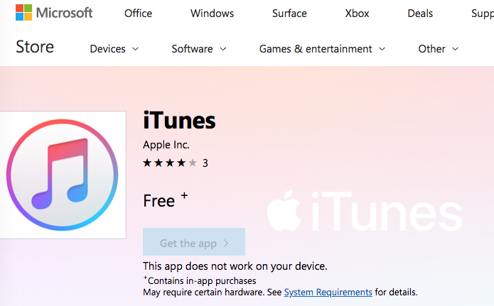 iTunes Download Hits the Microsoft Store for Windows 10 Users