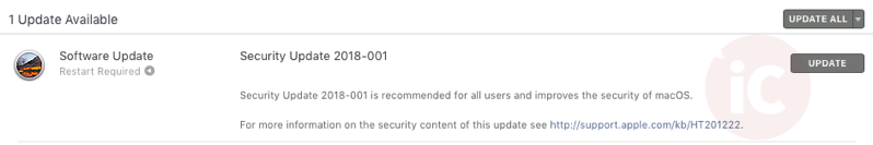 MacOS 10 13 4 security update