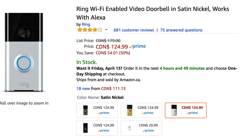 Ring doorbell sale
