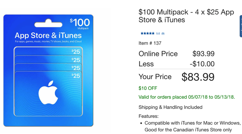 Costco itunes sale returns