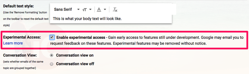 Gmail experimental access