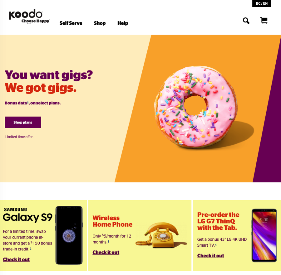 Koodo mobile website redesign