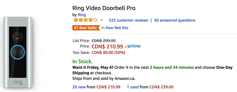 Ring video pro doorbell