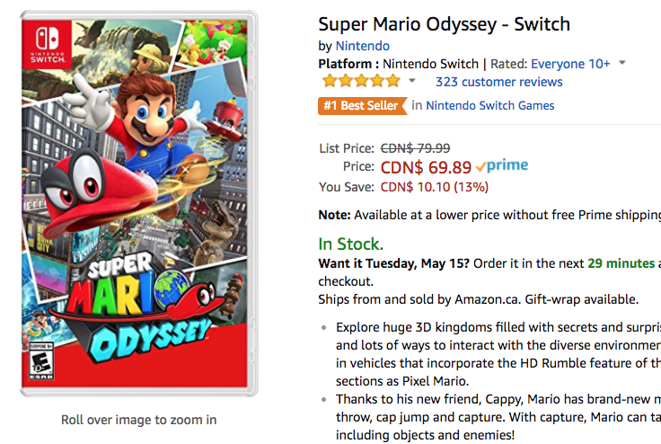amazon nintendo deals super mario odyssey switch for 13 off at 69