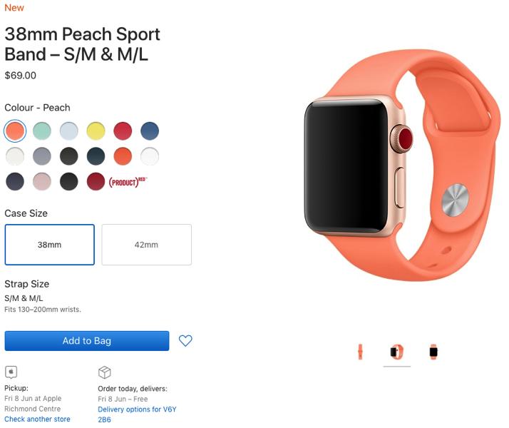 Apple watch band peach