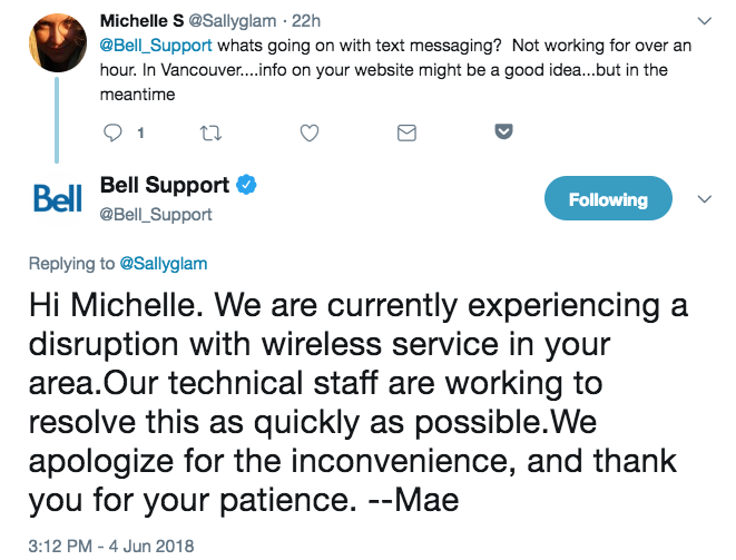 Bell outage