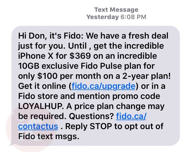 Fido offer iphone x