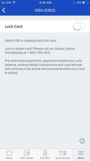 Rbc ios lock credit card 2