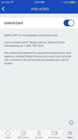 Rbc ios lock credit card 4