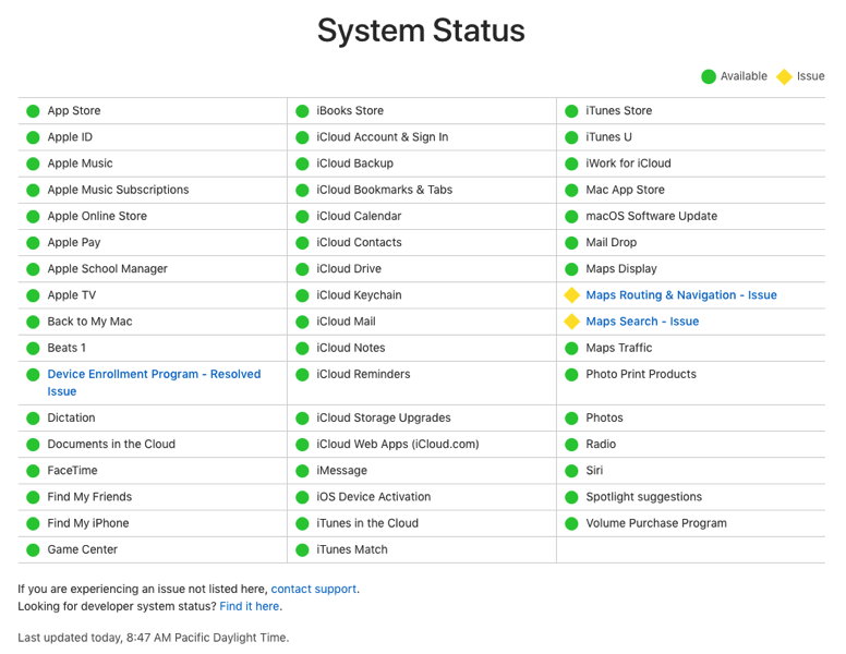 System status apple maps
