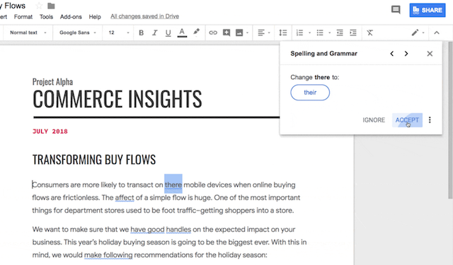 Google Docs Gets Machine Learning-Based Grammar Checker | iPhone in