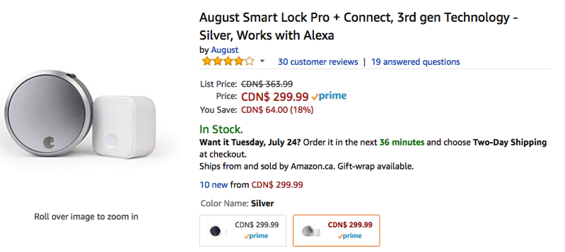 August Smart Lock Pro Connect On Sale For 18 Off On