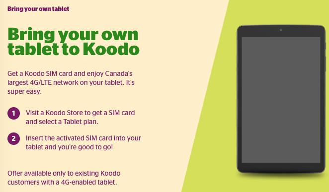 Koodo tablet BYOD