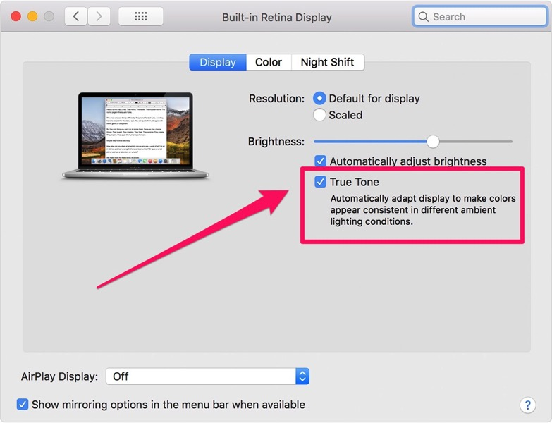 Macos macbook pro system preferences built in retina display true tone 2