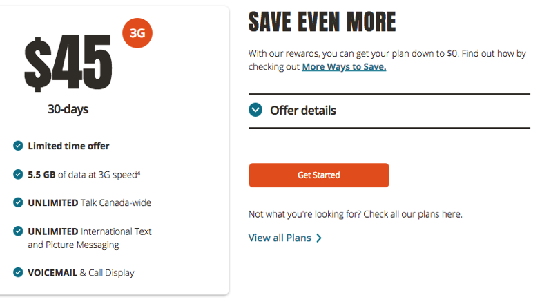 Public mobile $45 5 5gb 3G data
