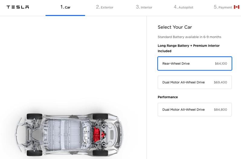 Tesla model 3 reservation canada order