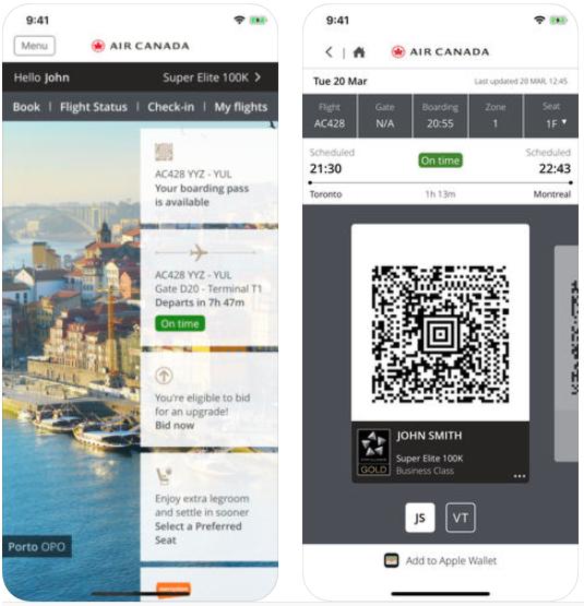 Air canada ios app