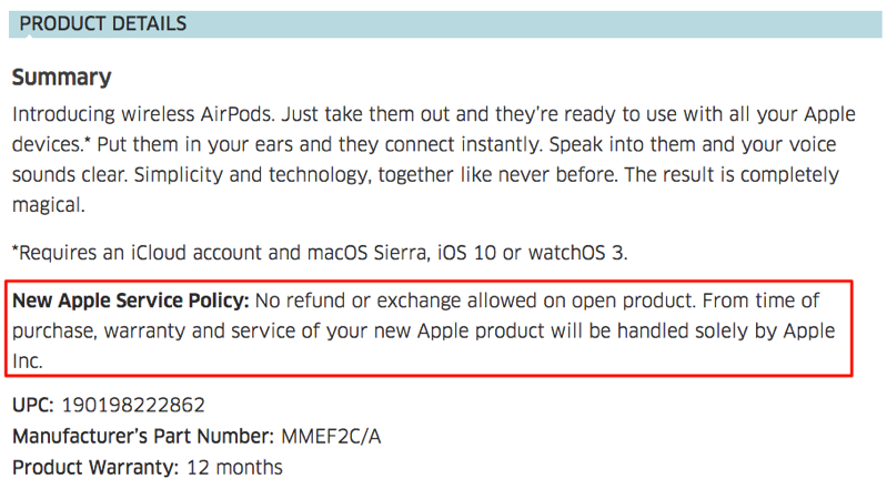 Airpods the source return policy