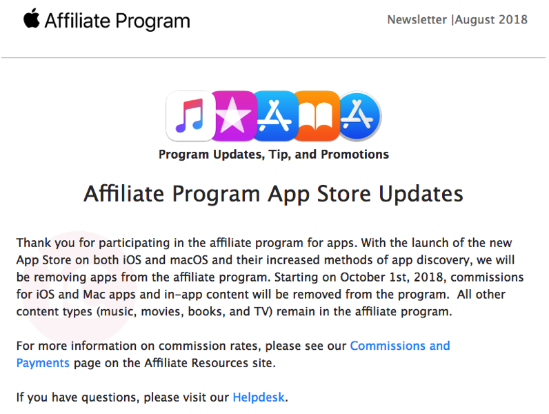 Apple Ends App Store Affiliate Program 08/03/2018