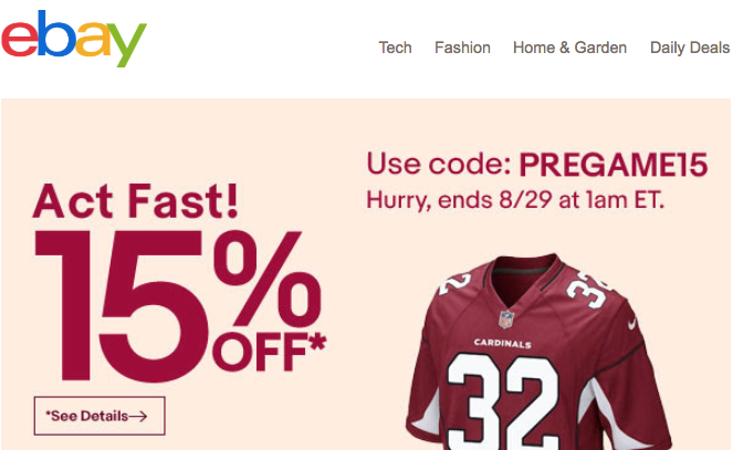 Ebay 15 off
