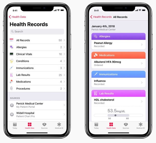 Health records ios 11 3