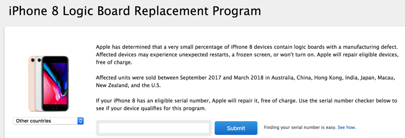 Iphone 8 logic board replacement program