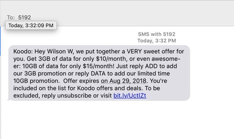 Koodo data add on $15 10gb