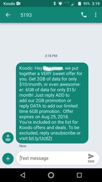 Koodo data promo add on