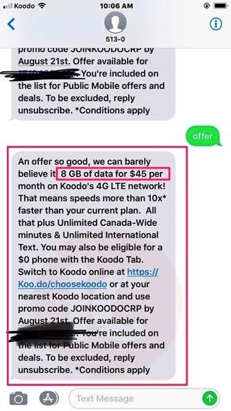 Koodo winback offer