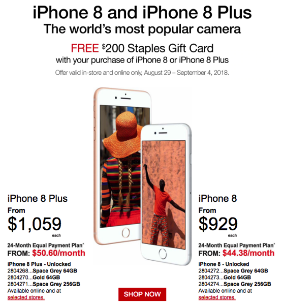 staples iphone 8 8 plus promo free 200 gift card with purchase iphone in canada blog. Black Bedroom Furniture Sets. Home Design Ideas
