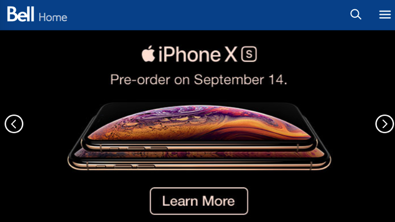 Bell iphone xs pre order