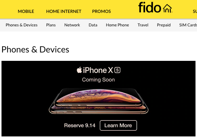 Fido iphone xs pre orders