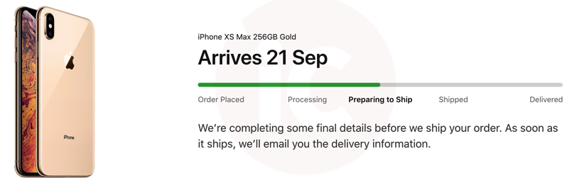 Iphone xs preparing ship