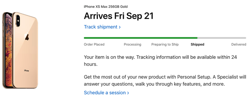 Iphone xs shipped