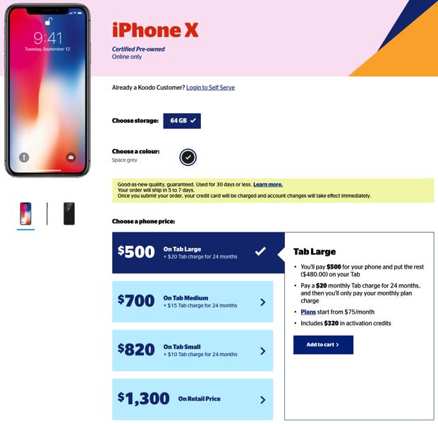 Koodo iphone x tab large pre owned