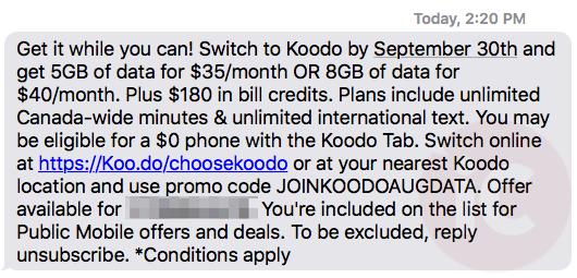 Public mobile koodo 40 8gb