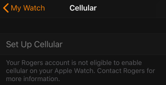 Rogers Apple Watch Cellular Activation Issue: Error Codes WS201, WS300 [u]